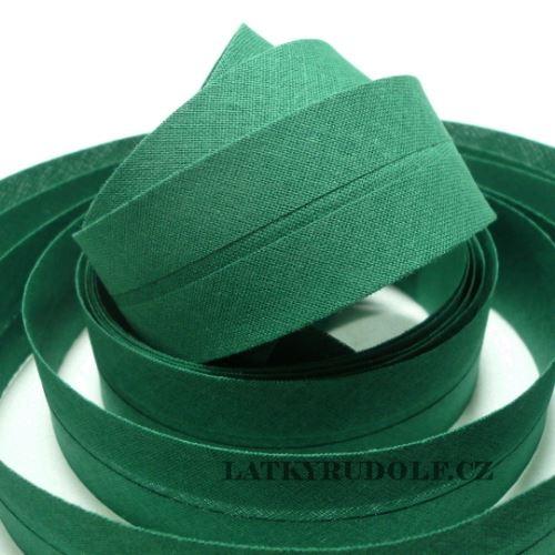 Šikmý proužek bavlněný 30mm tmavě zelený