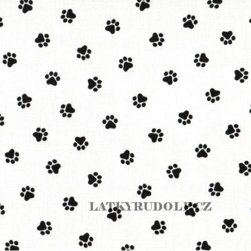Látka Tlapky černé na bílé 102184