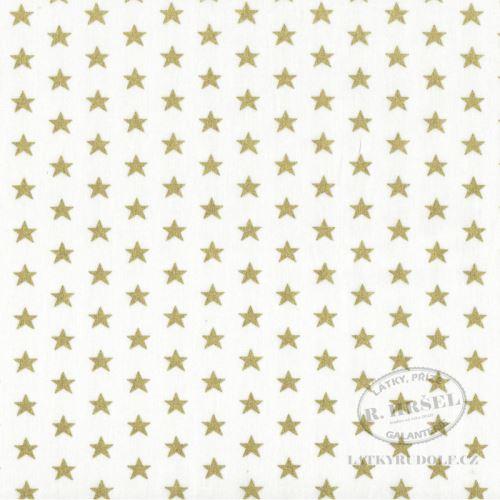 Látka Vánoční hvězdy na smetanové zlatotisk 103577