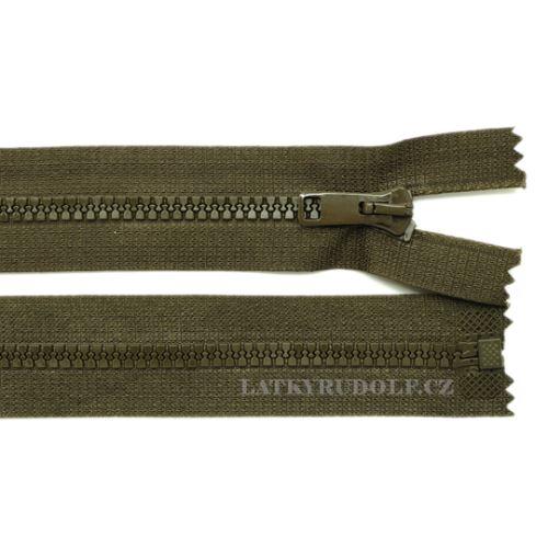 Zip kostěný 6mm dělitelný 75cm 989K-tm.khaki