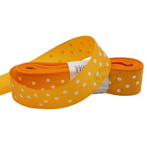 Stuha taftová puntík šíře 25mm 210211-oranžová, 10m