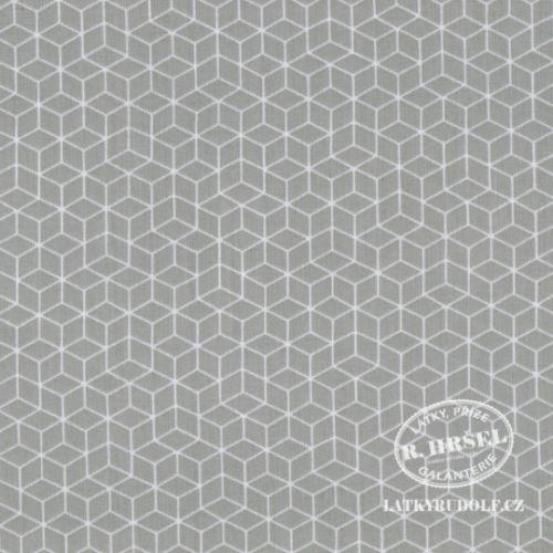 Látka Krychle na šedé 103344