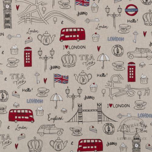 Látka Londýn na pevné režné 102367