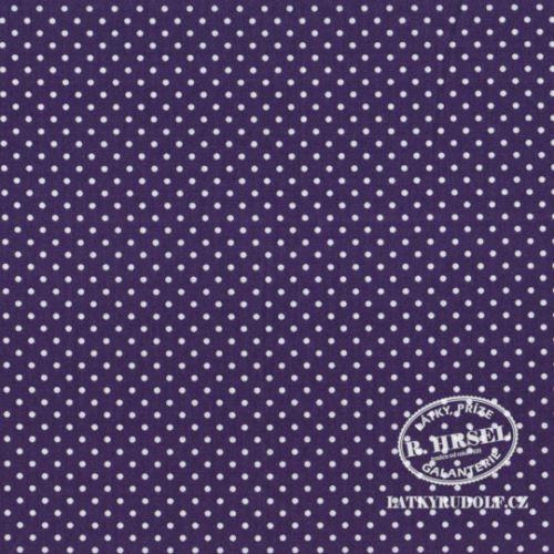 Látka Puntík 2mm na tmavě fialové 103147