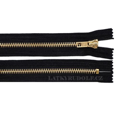 Zip mosazný 6mm nedělitelný riflový 18cm 332L-černá
