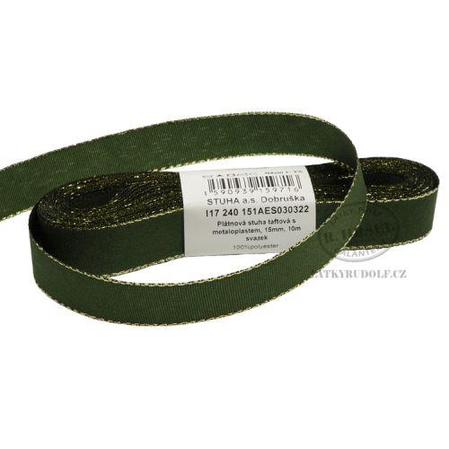 Stuha taftová s rexorem šíře 15mm 30322-zelená+zlato