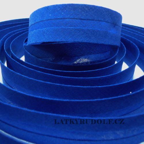 Šikmý proužek bavlněný 20mm královská modrá