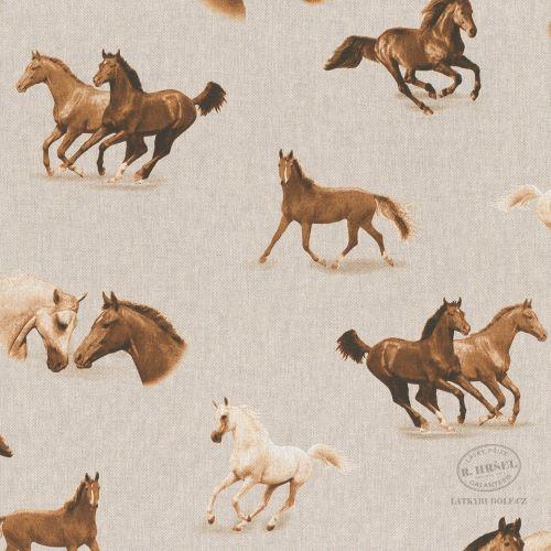 Dekorační látka Koně na pevné režné 103073
