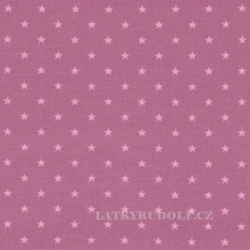 Látka Bavlněný úplet hvězdičky 5mm růžové 149235