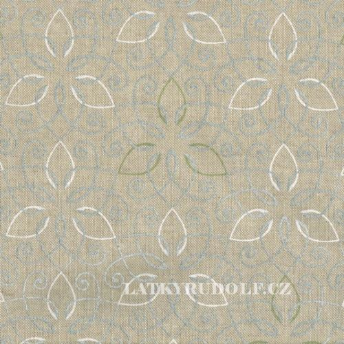 Látka stříbrné ornamenty na pevné režné 102588