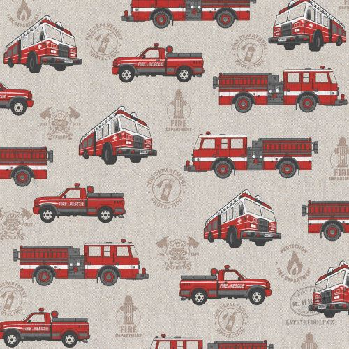 Dekorační látka hasičská auta na pevné režné 103069