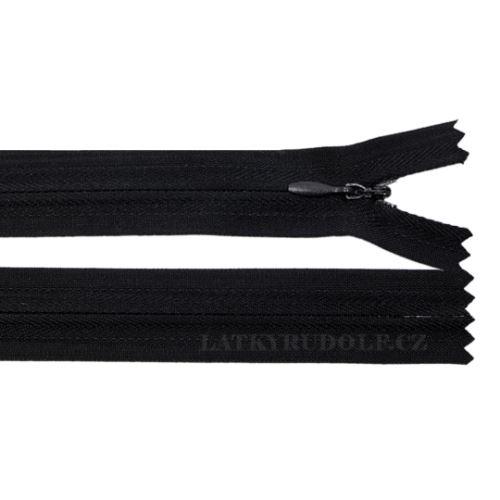 Zip skrytý 3mm nedělitelný 332L-černý