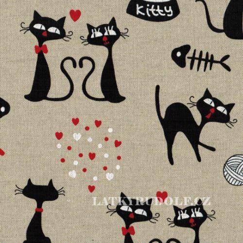 Látka Kitty na pevné režné 102357