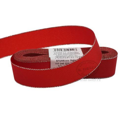 Stuha taftová s rexorem šíře 25mm 30643-červená+stříbro
