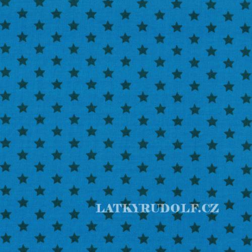 Látka Bavlněný úplet hvězdy modré na modré 149136