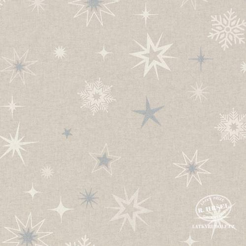 Látka Vánoční hvězdy bílé-stříbrné na pevné režné 201877