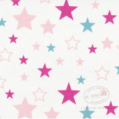 Látka Souhvězdí malinové na bílé 103591