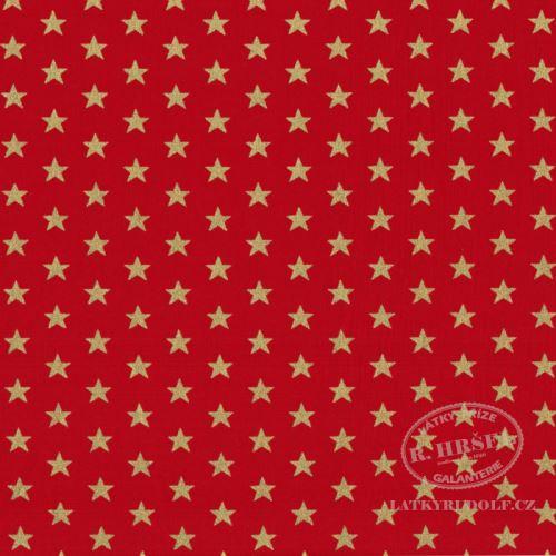 Látka Vánoční hvězdy na červené zlatotisk 103576