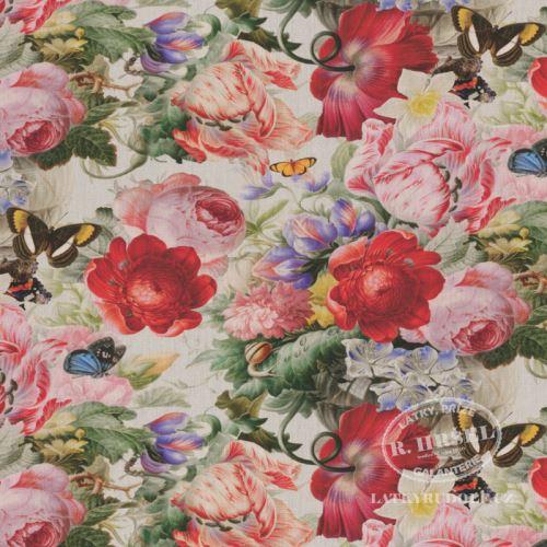 Látka Dralon Květy s motýli digi 291030