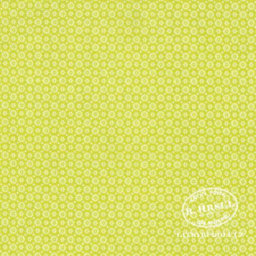 Látka Drobná kytička světle zelená limetková 103474