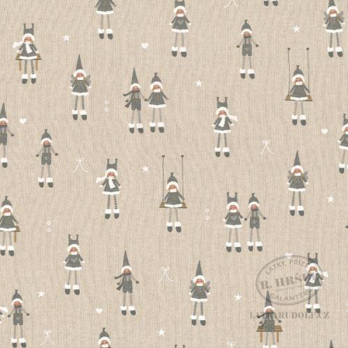 Látka Vánoční děti šedé na pevné režné 102958