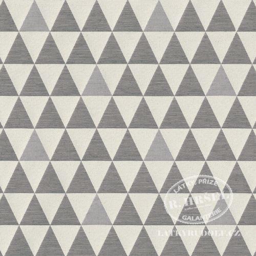 Žakárová látka trojúhelníky šedé 231012