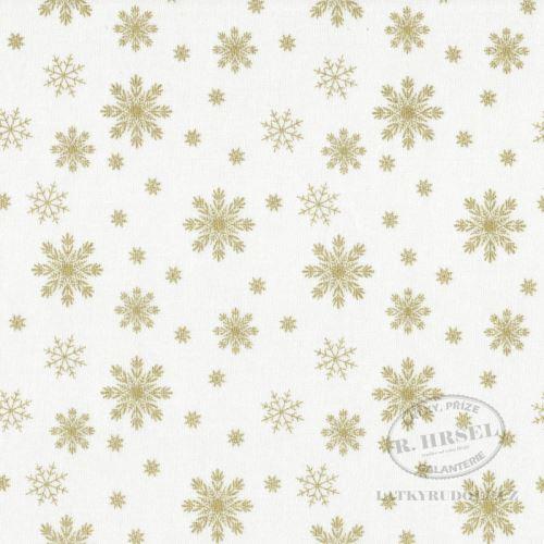 Látka Vánoční vločky na smetanové zlatotisk 103574