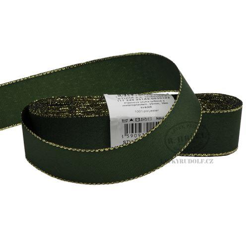 Stuha taftová s rexorem šíře 25mm 30322-zelená+zlato, 10m