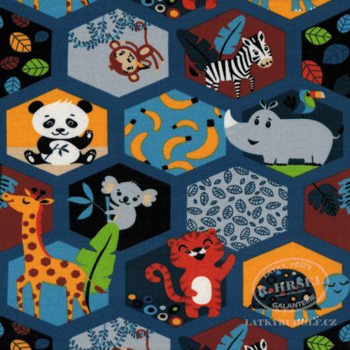 Látka Bavlněný úplet zvířátka mozaika 149343