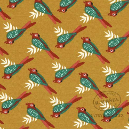 Látka Bavlněný úplet papoušci Liki 149307