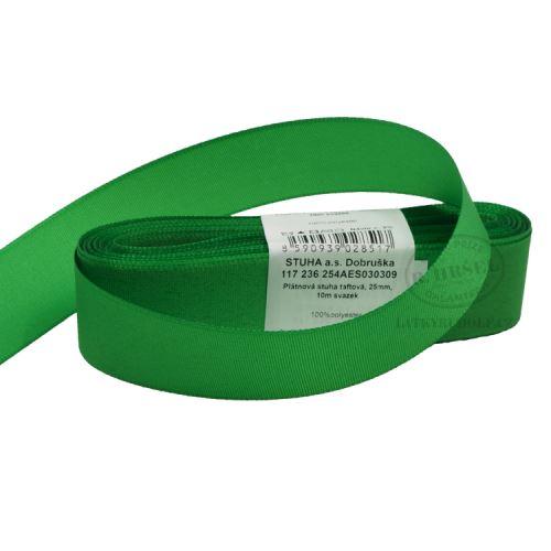 Stuha taftová šíře 25mm 30309-zelená, 10m