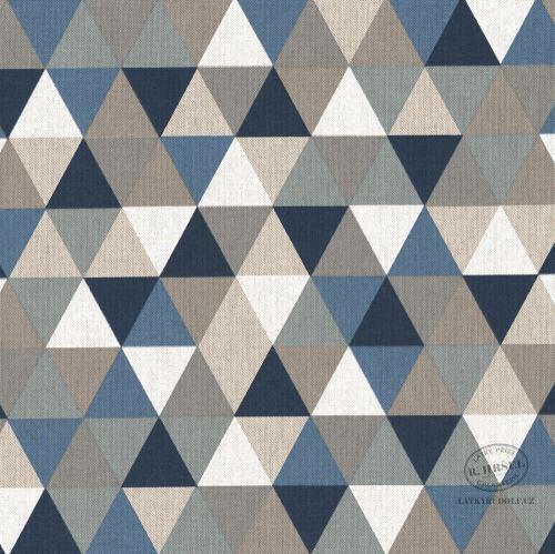 Dekorační látka Trojúhelníky modrá-režná 201796