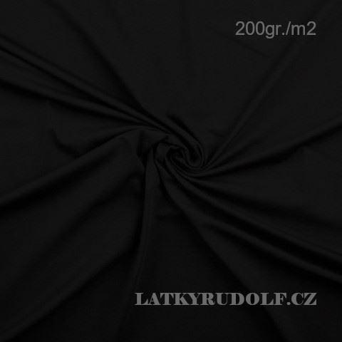 Látka Bavlněný úplet 200g černý 143069