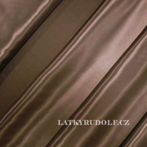 Látka Satén polyester hnědý 160024