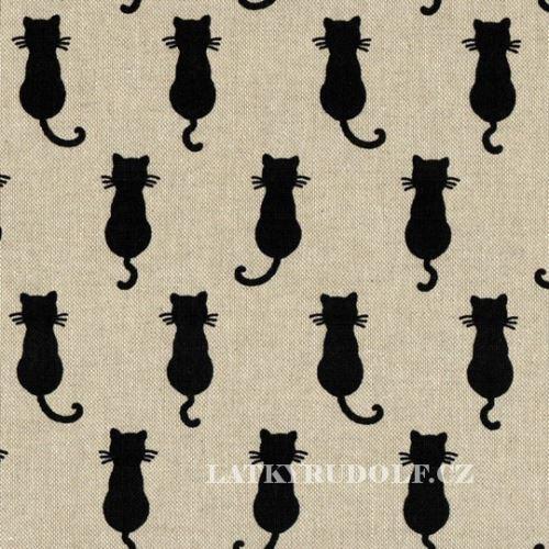 Látka Kočky na pevné režné 102580
