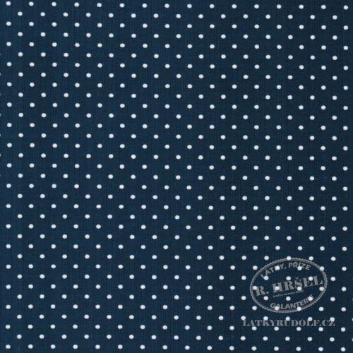 Látka Bavlněný úplet puntík 2mm tmavě modrý 149327