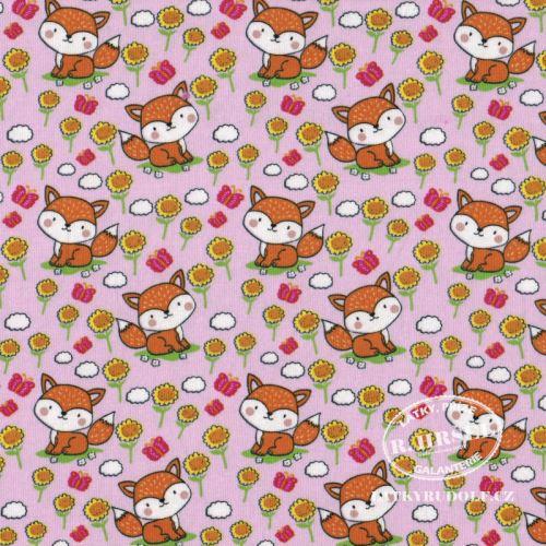 Látka Bavlněný úplet lišky na růžové 149352