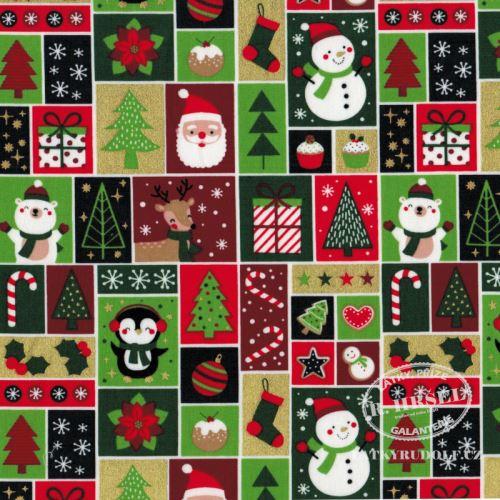 Látka Vánoční patchwork zlatotisk 103571