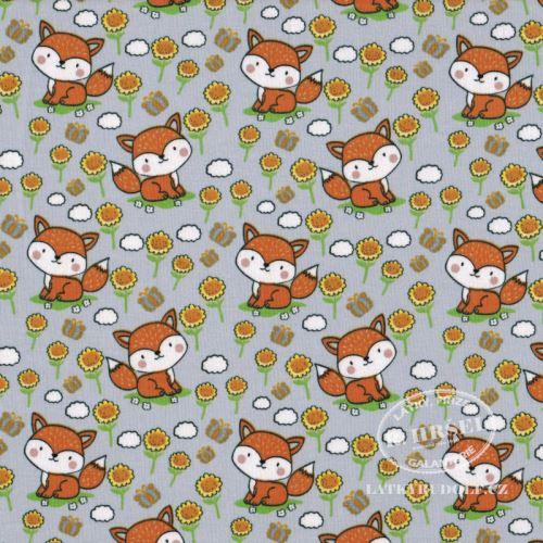 Látka Bavlněný úplet lišky na šedé 149353