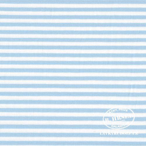 Látka Bavlněný úplet proužek 5mm světle modrý 149332