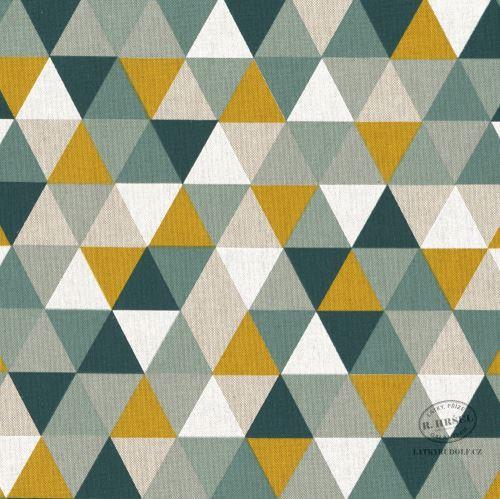Dekorační látka Trojúhelníky hořčicová-zelená 103072