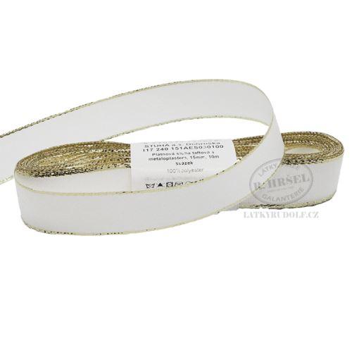 Stuha taftová s rexorem šíře 15mm 30100-bílá+zlato