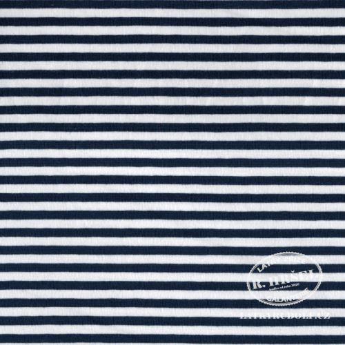 Látka Bavlněný úplet proužek 5mm tmavě modrý 149334