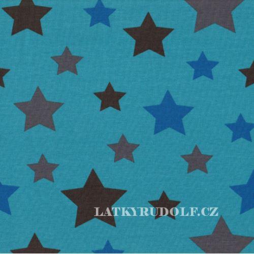 Látka Bavlněný úplet Hvězdy modré 149131