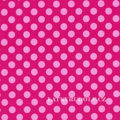 Látka Puntík 12 mm růžový a malinový Ta Dot 122229