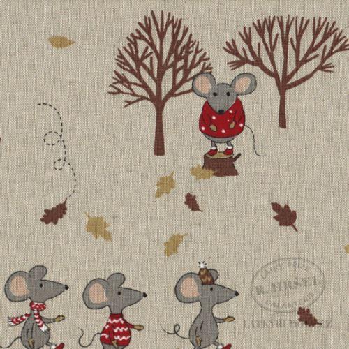 Látka Myšky a stromky na pevné režné 102953