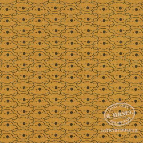 Látka Bavlněný úplet Medvídek Mikoa hořčicový 149318
