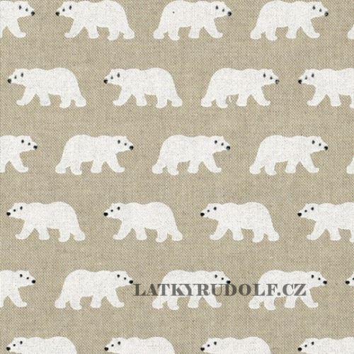 Látka Lední medvědi na pevné režné 102581