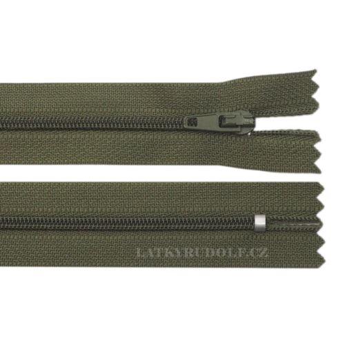 Zip spirálový 3mm nedělitelný 55cm 288K-tmavá khaki