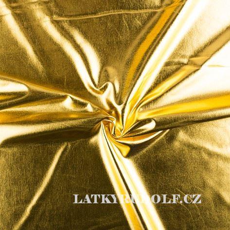 Látka Úplet zlatý lesklý (foil) 177004
